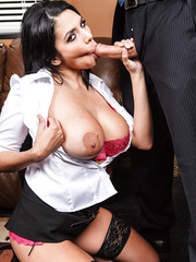 Dick-loving brunette Missy Martinez is banging in her face with that white stripe