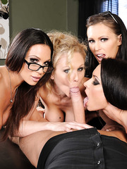 Four hardcore ladies are sharing tasty sperm of their lovely boss