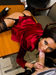 Erotic sex with a slender dick-sucking brunette Veronica Avluv in the office
