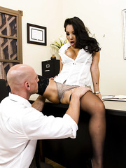 Alluring curly-haired Asian babe Asa Akira is getting fucked in doggy style
