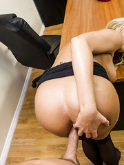 Sweetie blonde milf Darcy Tyler is banging with her long-dicked boss