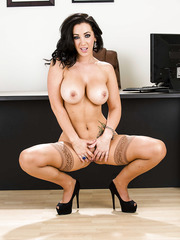 Babe with nice big tits Jayden Jaymes is taking off her blue skirt