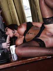 Big-tit babe in corset Emma Butt being fucked by that truly giant dick