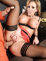 Muscular prisoner is fucking with secretary Nikki Sexx and cumming on her tits