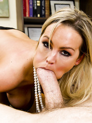 Sensual milf with big mouth Abbey Brooks is sucking this tasty dick