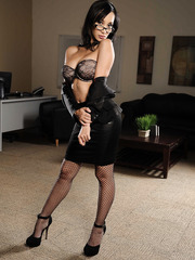 Pretty slender Asian secretaries on high heels are posing naked in the office