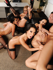 Four hardcore Asian models with big boobies Asa, Katsuni, London and Mia are fucking with one wiener