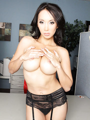 Cute curly-haired Asian Katsuni shows off her big natural boobies