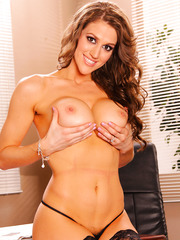 Curly-haired brunette Eve Laurence shows off her big natural boobies