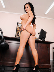 Awesome mature model Jenna Presley takes off her sexy tight uniform