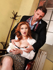 Redhead mature Tarra White being drilled in her innocent face and puss