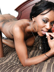 Sexy ebony Erika Vuitton playing with her sissy and masturbating on camera