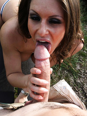 Foxy Rachel RoXXX making a titjob outside and getting fucked in doggystyle