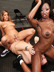 Diamond Jackson and Isis Taylor enjoying a big cock in a hot threesome action