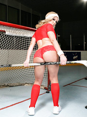 Sportive milf Dylan Riley showing fuckable ass and dancing striptease on ice
