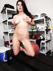 Cute Erin Marxxx taking off lingerie and demonstrating big tits on camera