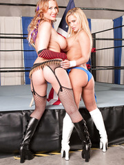 Cool milf Alanah Rae having fun with Shyla Stylez and licking her shaved sissy