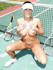 Marvelous minx Kortney Kane playing tennis and fingering shaved pussy