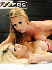 Two hot milfs Brynn Tyler and Jazy Berlin stripping in sexy stockings