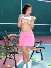 Big-boobed Yurizan Beltran playing tennis and fingering at the same time