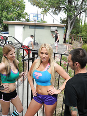 Cute whores Alanah Rae and Haley Cummings fucking with handsome strangers