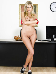 Unpredictable milf Darcy Tyler showing shaved pussy and teasing boobies