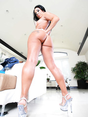 Exotic milf Monica Santhiago taking off shorts and working with her shaved sissy