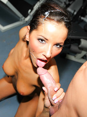Weird babe Angel Dark pleasing her coach and riding his big hard dagger