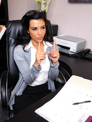Mischieveous babe Lou Charmelle fucking with a customer in her office