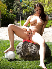 Good-looking Chanel Preston playing with a ball and masturbating outdoors