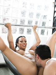Wet and pleased Rachel Starr riding her friend's dagger in the gym