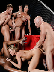Four well-known pornstars sucking big cocks and taking part in a real group sex