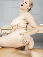 Cheeky milf Julia Ann riding a big cock and trying to get a facial cumshot at the end