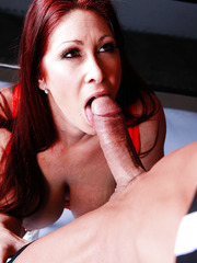 Pro fighter Tiffany Mynx getting naughty with her opponent and swallowing his cock