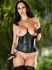 Excellent brunette milf with great breast Ava Addams poses in cryptic black lingerie