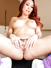 Redhead bombshell Monique Alexander surprises with her sexy tattooed body and big boobs