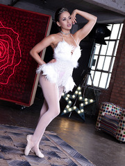 Delicious ballerina with sexy slender legs and beautiful big boobs Aleska Diamond