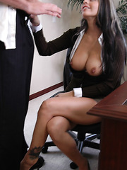 Hot secretary with big boobs Mikayla is not against to hug a big cock with her trimmed pussy