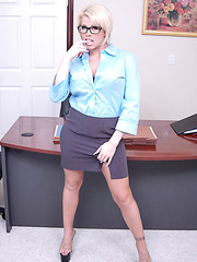 Super sexy office lady with hot big boobs Brooke Haven poses in extra hot lingerie
