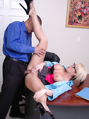 Busty office lady in sexy glasses Brooke Haven starts hot action with a blowjob