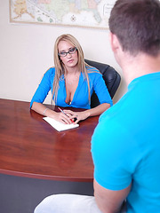 Blonde teacher with charming big boobs Trina Michaels and her worst student