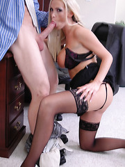 Sales manager with amazingly big tits Nikki Benz fucked in her super hot lingerie