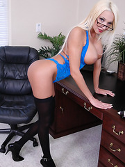 Spending blonde office bombshell Donna Doll and her first-class body