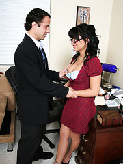 Horny and busty Eva Angelina fucking with her skinny colleague in his office