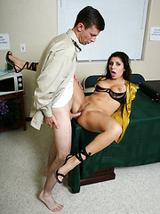 Petite milf Sativa Rose takes her modest colleague's dick in her asshole