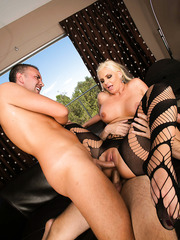Excellent threesome action with amazing busty blonde milf Phoenix Marie
