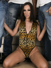 Mesmerizing brunette Jada Stevens facialized by two hot and big cocks