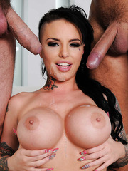 Gorgeous brunette with huge tits Christy Mack gets double penetrated with passion