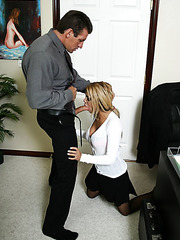 Hot milf Carmel Moore and her handsome colleague fucking hard in the office