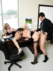 Fantastic threesome scene with two horny milfs and lucky boss